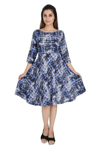 645944af59 Western Wear Neels Printed Black   Blue Flared Frock Rayon Dress