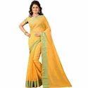 New Orange Womens Saree With Blouse