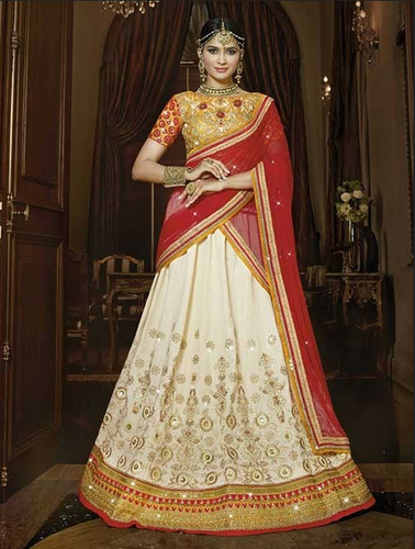 d66d331709 Cream Colored Beautiful Heavy Embroidered Italian Raw Silk Lehenga Choli
