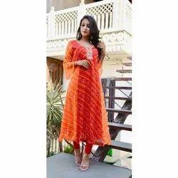 Ladies Rayon Orange Printed  Kurti