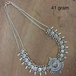 Junk Jewelry German Silver Oxidised Necklace