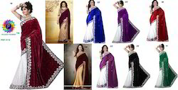 Net Party wear Exclusive Designer Velvet Fancy Sarees