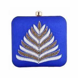 Blue Handmade Betel Designing with Zardosi Work Clutch