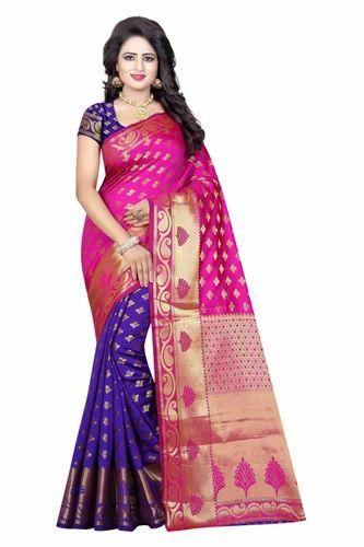 c9b27b7bae Women's Jacquard Banarasi Silk Pink And Purple Saree, Rs 850 /piece ...