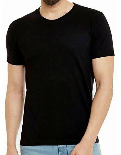 abb6e5b635e8 Cotton Causal Mens Black Plain T-Shirt, Rs 45 /piece, The Ranner ...