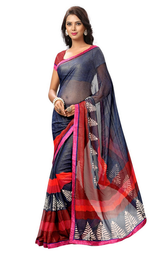 c5fd09d4219207 Navy Blue Colour Printed Faux Georgette Saree With Blouse at Rs 983 ...