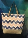 Canvas Bag With  Jute Bottom
