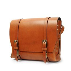 Brown Plain Leather Conference Bag