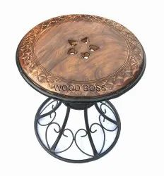 Wrought Iron Side Table/Stool with Wooden Carved Top/Natural Burnt Finish with Black Metal Base