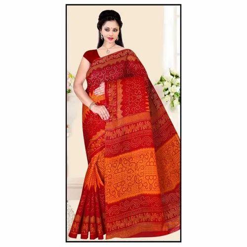 Cotton Ladies Party Wear Printed Saree