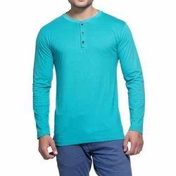 Mens Melange Henley Full Sleeve T-Shirt