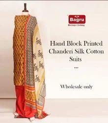 Pure Chanderi Sanganeri Block Printed Suit Set