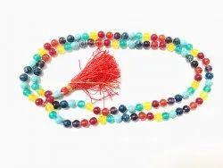 Multicolor Round Seven Chakra Mala, Size: 4mm