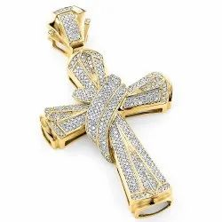 10K Gold Holy Cross Men's Diamond Pendant