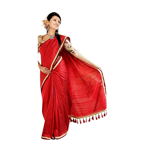 b89e407583 Red Crazzy Enterprise Girls Chanderi Cotton Saree, Rs 599 /piece ...