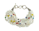 String White Glass Chips With Multi Glass Beads & Pearl Beads Toggle Bracelet