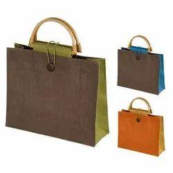 Wooden Handle Jute Ladies Handbag