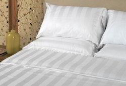Satin Stripe Bed Sheet Cotton 40s Count Luxurious Quality