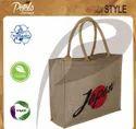 Natural Color Daily Use Custom Design Logo Print Soft Padded Rope Handle Pp Laminated Jute Bag