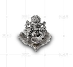 Silver Plated Ganesh Ji On Leaf