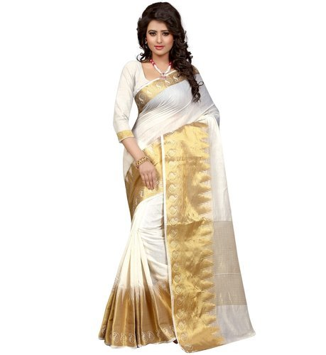 13f65b419b Silk Cotton Party Wear Cotton Saree With Gold Zari Border, Rs 499 ...