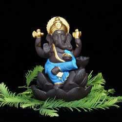 Ganesha On Lotus Petal Smoke Fountain (Blue) Ganesha On Lotus Petal Smoke Fountain