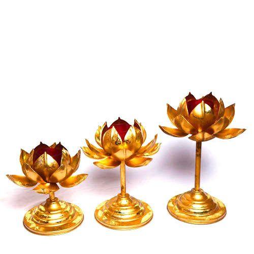 Golden Handicrafts Iron Sheet Lotus Metal Candle Holder Packaging