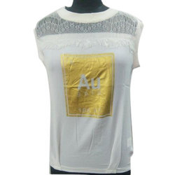 Ladies Cotton White Round Neck Top, Size: S, M & L