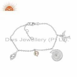 Natural Pearl Gemstone 925 Fine Silver Charms Bracelet