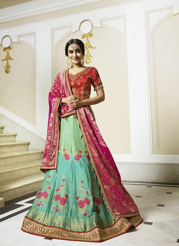 0f97d1e3c62aee Wedding Raw Silk Semi-Stitched Embroidery Lehenga