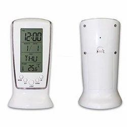 White Gopani Square 510 Digital Alarm Temperature Calender Table Clock