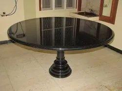 Jet Black 4ft X 4ft Dia Black Granite Dining Table