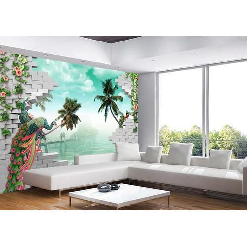 green living room 3d wallpaper rs 100 square feet bombay rh indiamart com 3d european waterproof living room wallpaper Living Room Desktop Wallpaper