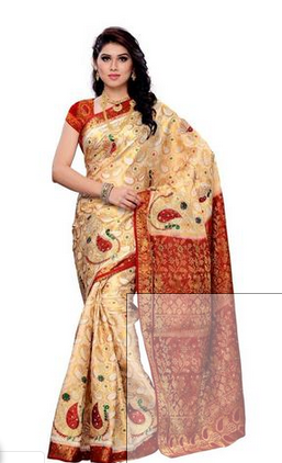 dc7edd8429c7d8 White And Maroon Festive and Wedding Wear MIMOSA Fully Motif Design  Kanjivaram Art Silk Saree