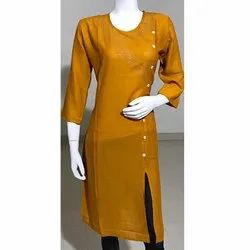 Yellow Rayon With Block Print Kurti