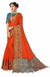 Designer Festive Wear Cotton Silk Weaving Saree, 6.3 mtr
