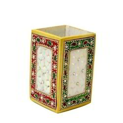 Handcraft Marble Pen Stand, Square Shape