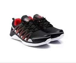Mens Black Red Synthetic Walking Shoes