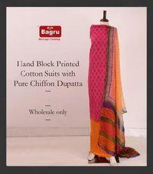 Cotton Suit Set with Pure Chiffon Dupatta