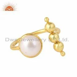 Natural Pearl Gemstone Womens Gold Plated Silver Rings