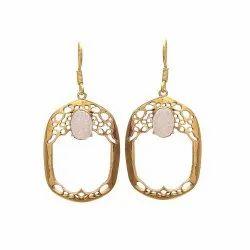 White Druzy Designer Earring