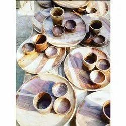 Brown Wooden Thali Set, Packaging Type: Box