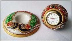 Marble Handicrafts ( Clock Cum Paper Holder ) for Decoration