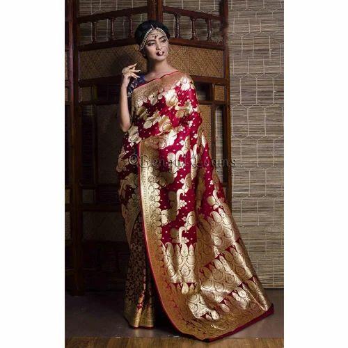 c3a9c918b07f Art Silk Bridal Banarasi Saree in Maroon and Gold at Rs 5500 /piece ...