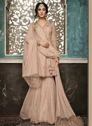 Indian Clothing Store Jay Ambe Textiles Womens Net Heavy Embroidered Semi Stitched Anarkali Gown