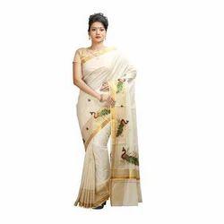 858ed8abd3 White, Golden Cotton Kerala Set Mundu Saree, Without Blouse, 5.5 M ...