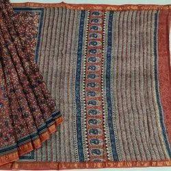 Party Wear Printed Kota Doria Saree, With Blouse, 6.4 Meter