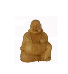 Wooden Laughing Buddha Statue