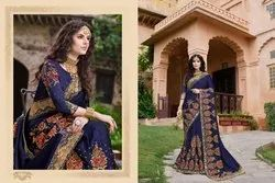 Beautiful Silk Embroidered Party Wear Saree