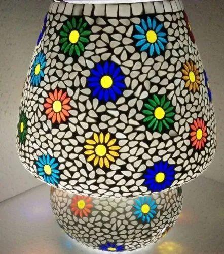 Mosaic Glass Mushroom Shaped Table Lamp